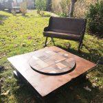 fauteuil a bascule et table patchwork madneom