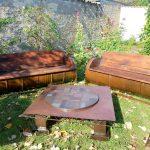 bancs futs et table patchwork madneom