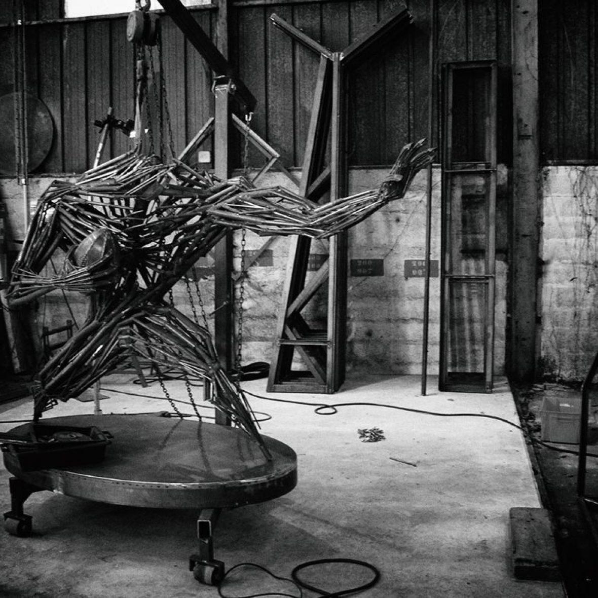 Création Sculpture Rugbyman Atelier Madneom Marans 2016