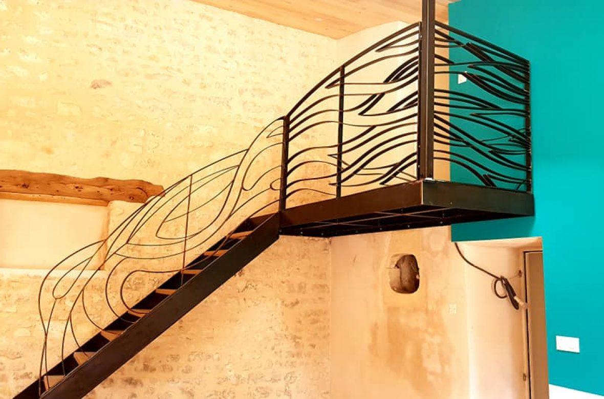 escalier metal bois chêne garde corps sauvage madneom 2020